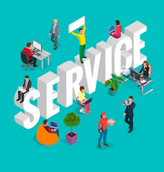 Isometric customer service department concept vector