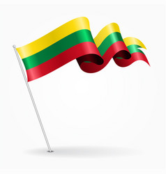Lithuanian pin wavy flag vector