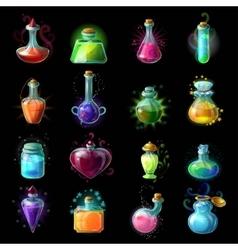 Magic bottles icon set vector