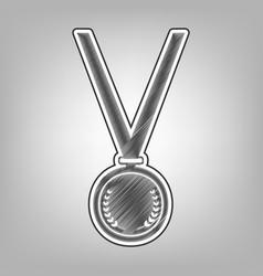 Medal simple sign pencil sketch imitation vector