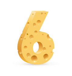 Number six on white for design vector