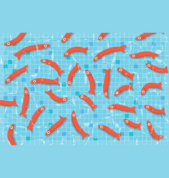 Red fishes swimming in pool with clear water vector
