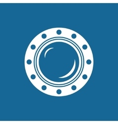 Round ship porthole isolated on blue vector