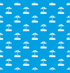 Sandbox with dotted umbrella pattern seamless blue vector