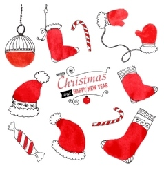 Set of hand drawn Christmas doodles for design vector image