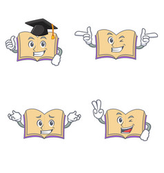 Set of open book character with graduation wink vector