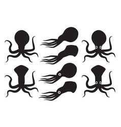 silhouette squid and kraken vector image vector image