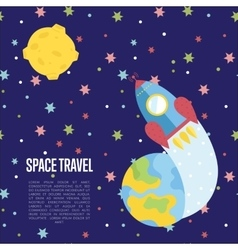 Space Travel Cartoon Web Page Template vector image