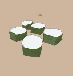 thai pudding with coconut topping kanom ta-koh vector image