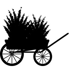 the cart with flowers silhouette vector image vector image