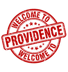 Welcome to providence red round vintage stamp vector