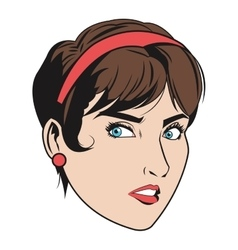 woman with hair up and red accesories vector image vector image