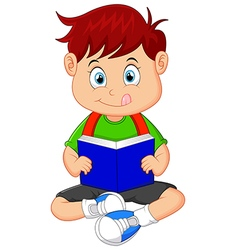 Young boy reading book vector image vector image