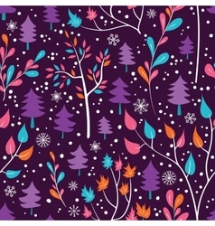 Winter flowers and snowflakes seamless pattern vector