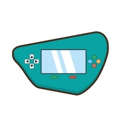 Cartoon green video gamepad portable technology vector