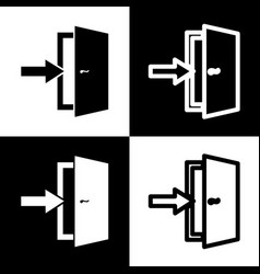 Door exit sign black and white icons and vector