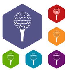 Golf ball on a tee icons set hexagon vector