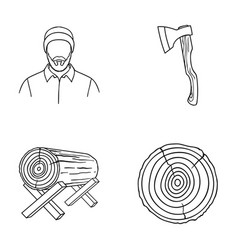Carpenter log on supports ax cut logs sawmill vector