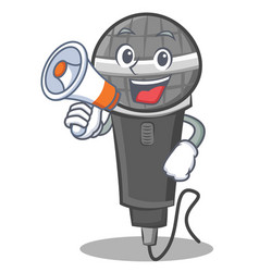 With megaphone microphone cartoon character design vector