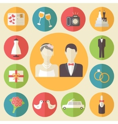Wedding icons set flat design vector