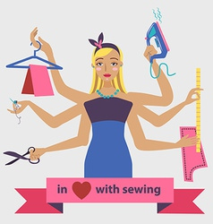 Sewing with dressmaker and differnt tools vector