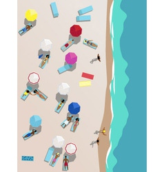People on the beach aerial view vector