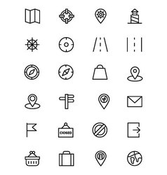 Map and Navigation Line Icons 2 vector image