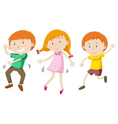 Boys and girl dancing vector