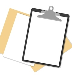 Flat clipboard with paper sheets on desk vector