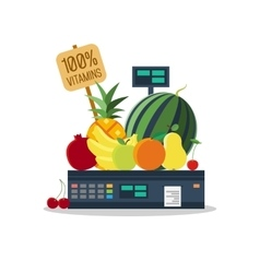 Natural products vegetables and fruits on scales vector