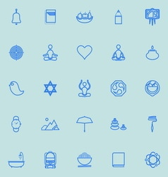 Zen society line icons light blue color vector
