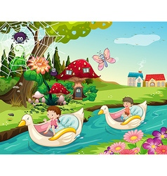 Children riding boats on the river vector