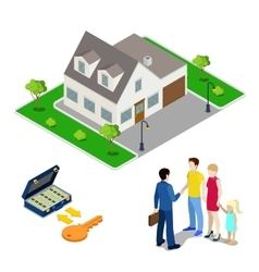 Real estate business broker and young family vector