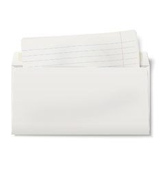 Backside of opened dl envelope with lined paper vector