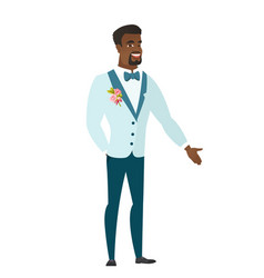 African-american groom with hand in his pocket vector