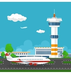Airport with Control Tower and Airplane vector image vector image