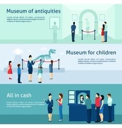 Archeological antiquity museum flat banners set vector