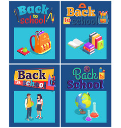 Back to school set of posters with various objects vector