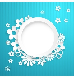 Background with circle and paper flowers vector