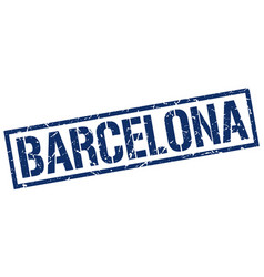 Barcelona blue square stamp vector