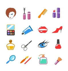 beauty and make up colored icons vector image