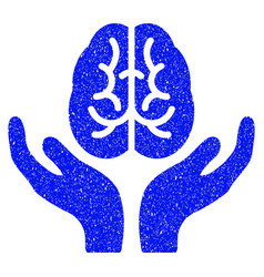 Brain care hands grunge icon vector
