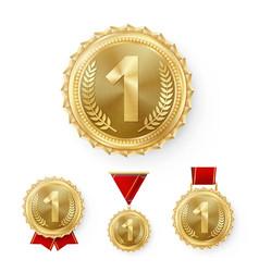 champion bronze medals set metal realistic vector image vector image