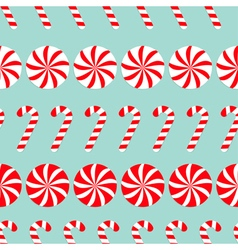 Christmas round white and red sweet set candy cane vector