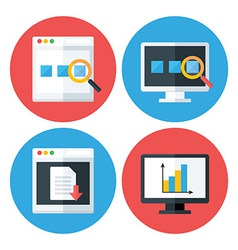 Computer Browser Technology Flat Circle Icons Set vector image