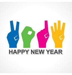 Creative new year2014 concept with finger vector image