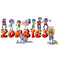 Different faces of zombies vector image vector image