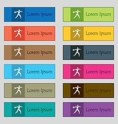 Discus thrower icon sign set of twelve rectangular vector