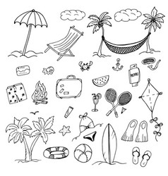 drawings elements of leisure and beach vector image vector image