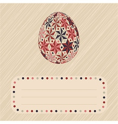 Easter card with patterned egg and border vector image